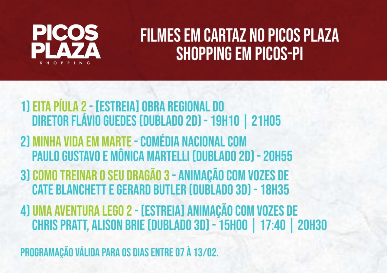 Confira os filmes em exibição no Picos Plaza Shopping (07 a 13/fev)